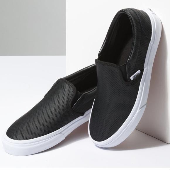 6f9908bbb1a828 Vans Shoes - Vans Black Perf Leather Slip On- Size 9